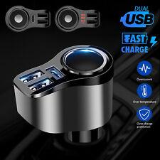 Car Cigarette Lighter Socket Splitter Charger Dual USB Port Power Adapter 12-24V