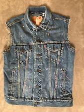 Levis Mens Trucker Vest Paint Splattered Denim NEW