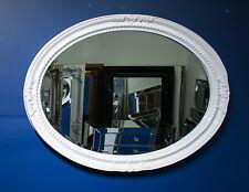 White Large Oval Round Wall Mirror & Frame, Antique, Chic, Designer 100cm x 75cm