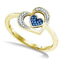 10K Yellow Gold Blue & White Diamond Ring .07ct Gold & Diamond Heart Ring