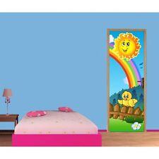 Papier peint porte enfant Arc en ciel soleil 714