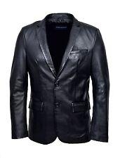 Men's CLASSIC BLAZER Black Z120 Tailored Soft Real Nappa Leather Jacket Coat