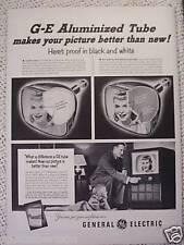 GENERAL ELECTRIC TELEVISION TV  VINTAGE  AD 1951