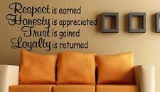 Applique murale respect est Gagné La confiance est Gagné Citation Vinyle Mur Art Autocollant