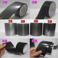 Tape Center 2D 3D 4D 5D Glossy Real Carbon Fiber Vinyl Wrap Sticker Black - BO