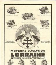 95 ARGENTEUIL MOTEUR AVIATION LORRAINE CIGOGNES PUBLICITE 1929
