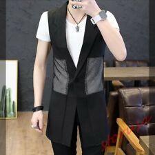 Mens Korean Mesh long Waistcoat Slim Fit Clubwear Sleeveless Casual Shirt Coat