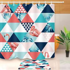 "71X71"" Bath Shower Curtain Waterproof Tropical Plants Flamingo Checks Fabric Set"