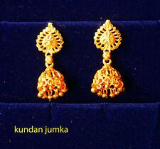 gold earrings kundan chandelier drop goldplated indian style earrings M1
