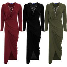 Womens Long Sleeve Chain Lace Up Plunge V Neck Wrap Split Wrap Maxi Dress