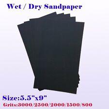 """9"""" x 5 1/2"""" Wet Dry Sandpaper Sanding Paper Abrasive 800/1500/2000/2500/3K Grit"""