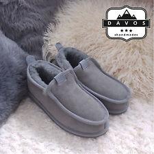 New Men's Deluxe Grey 100% Genuine Sheepskin Suede Fur Slippers Hard EVA Sole