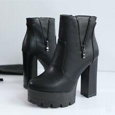 Women Round Toe Ankle Riding Boots High Block Heels Platform Clubwear Punk Shoes