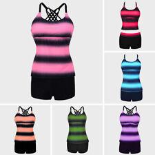 8d9465a5bf Plus Size Women Tankini Sets Two Piece Swimsuit Swimwear Backless Push Up  Padded