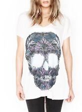f6436909c Lauren Moshi April Feather Skull Oversized T in white
