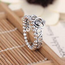 Princess Crown Silver Rhinestone Love Heart Ring Womens Girls Queen Tiara   Cy