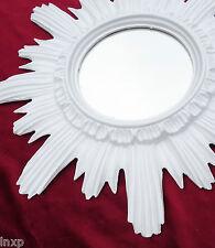 Baroque Antique Wall Mirror Sun in White 16 1/2x16 1/2in round Repro 12