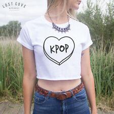 * Kpop Crop Tshirt Boy Band Korean Music Teen Girl K-Pop Fashion Top Fangirl *