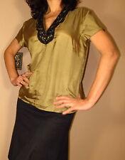 Marina Rinaldi Max Mara Hand-Beaded Silk Mustard Blouse MR17,21/8,10,12,14W NWT