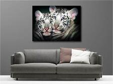 Tableaux toiles déco en kit Tigres Blancs réf  124578565
