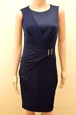 New Lipsy Navy Blue Belted Drape Dress Sz UK 10