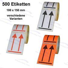 """500 Etiketten/Aufkleber mit Doppelpfeil """"hier oben"""" 100 x 150 mm"""