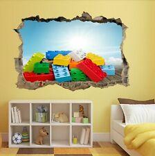 Lego Bricks Blocks Wall Art Sticker Mural Kids Bedroom Playroom Nursery BF15
