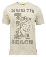 'South Beach' Mens Cream Tiger T-Shirt - Sizes - Small/Medium/Large/XLarge