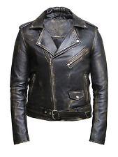 Piel hombre Biker Jacket Black 100% Cera Real Cuero De Cordero Piel Bestseller