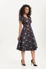 VOODOO VIXEN Mia Tea-Time Full Day Dress Vintage DRA8575 Navy 1950s UK 8-16