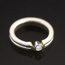 Georg Jensen 18K White & Yellow Gold Diamond Solitaire Ring 0.12 ct.