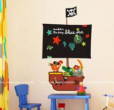 PIRATE SHIP Blackboard/Chalkboard Wall Stickers Removable Decal Boys Kids Room