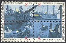 USA - MNH Block of 4 Stamps -8c Boston Tea Party
