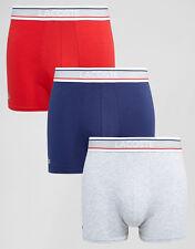Men's Lacoste Algodón Elastizado 3 Paquete De Tronco Corto, Boxer Brief, más tamaño