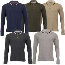 Uomo Polo T-Shirt Brave Soul Kennedy Manica Lunga Jersey Piqué Top da Golf Moda