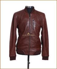 Wayne marron homme smart casual style designer vrai doux cuir d'agneau veste en cuir