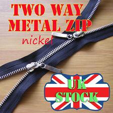 Black Metal Zip Two Way Zip No5 Nickel Zipper  lengths 65 - 85cm Double Zip