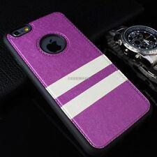 For iPhone 6 6S Plus Slim Matte PU Leather Hybrid TPU Case+Tempered Gl