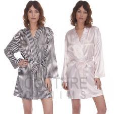 Ladies Satin Silk Stripe Sexy Secret Dressing Gown Silky Nightwear Bath Robe