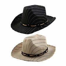 Summer Outdoor Linen Stripe Pattern Breathable Wide Brim Beach Sunhat Cowboy Hat