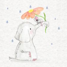 """Éléphant, souris Aquarelle/Tissu Coussin/CRAFT/QUILTING/8""""x8"""""""