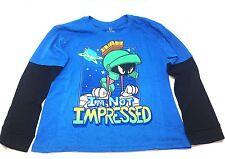 Kids Martian Man Looney Tunes Blue Long Sleeve T-Shirt I'm Not Impressed Cartoon