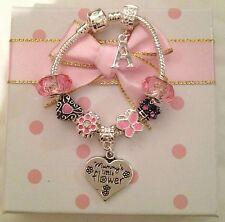 Personalised initial Girls Daughter Niece big sister pink bracelet in gift box