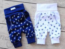 Hose Baby & Kinder Schlupfhose 50-104 Babyhose Weiß Blau Anker Babyhose UNISEX
