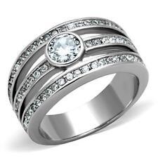 1525 TRIPLE ROW BEZEL SET  RING SIMULATED DIAMOND STAINLESS STEEL TUSK WOMENS