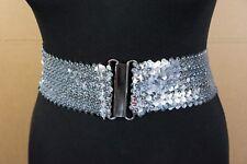 Ladies Shiny Sequins Elasticated Stretch Waist Belt - 3 Colours