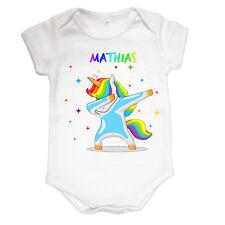 Body bébé baby licorne dab garçon  personnalisé avec prénom réf 38