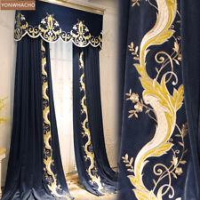 elegant palace embroidered blue velvet thick cloth blackout curtain valance B807