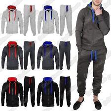 New Mens Hooded Contrast Drawcord Fleece Sweatshirt Bottom Set Joggers Tracksuit