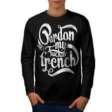 Lengua Francesa eslogan Hombre Manga Larga wellcoda Camiseta Nuevo |